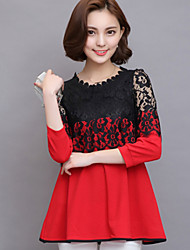 Women's Color Block Pink / Red / Black Blouse,Round Neck ¾ Sleeve