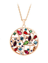 HKTC Valentine's Exaggerated Colourful Crystal Flowers Round Pendant Necklaces 18K Rose Gold Plated Fashion Jewelry