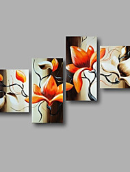 "Ready to Hang Stretched Hand-painted Oil Painting 64""x44"" Canvas Wall Art Modern Flowers Orange Magnolia"