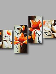 Peint à la main Abstrait / A fleurs/BotaniqueModern Quatre Panneaux Toile Peinture à l'huile Hang-peint For Décoration d'intérieur
