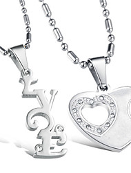 Necklace Pendant Necklaces Jewelry Wedding Party Initial Jewelry Alloy Women Men Couples 1 pair Gift Silver