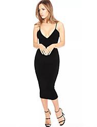 Mulheres Vestido Bodycon Sexy Sólido Médio Decote V Poliéster / Elastano