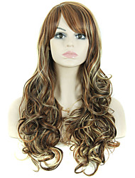 26 Inch Long Curly Wig With Side Bangs for Women Cheap Realistic Synthetic Fake False Hair Wigs