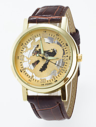 Men's Skeleton Wrist Watch Quartz Watches Of Gold  Dragon Dial Black And Coffee color Pu Band Imitation Mechanical Watch