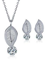 2016 Fashion Luxury Lovely Leaf Shape Zircon Jewelry Set For Women