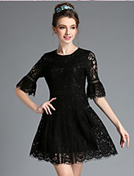 Fashion Women Vintage Elegant Embroidery Hollow Lace Plus Size 1/2 Sleeve Dress