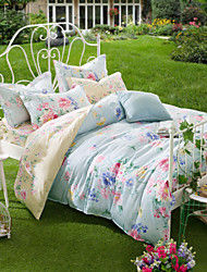Orchids Of The Territory, High-end Full Cotton Reactive Printing Pastoral Flowers Bedding Set 4PC, FULL Size