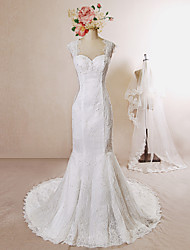 Trumpet/Mermaid Wedding Dress-Ivory Chapel Train Lace / Satin