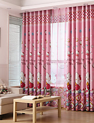 Two Panels Cat Blackout Printing   Curtain
