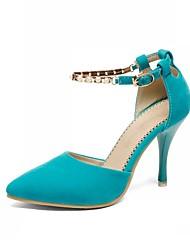 Zapatos de mujer-Tacón Stiletto-Tacones-Tacones-Boda / Oficina y Trabajo / Fiesta y Noche-Semicuero-Negro / Azul / Rosa / Beige