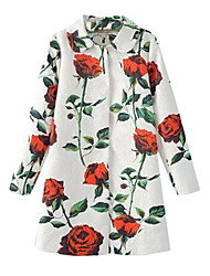 Women's Floral White Coat,Simple Long Sleeve Polyester