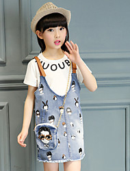 Girl's Cotton Summer Letter Shirt Cartoon Figure Suspender Pants Three-piece Suit
