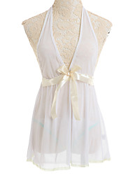 Feminino Baby-doll & Slip Roupa de Noite Malha Branco Mulheres