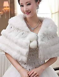 Wedding  Wraps / Fur Wraps / Hoods & Ponchos Capelets Sleeveless Faux Fur White Wedding / Party/Evening Shawl Collar / Rolled collarLace