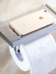 Bathroom Wall Mounted Soild Brass Chrome Finish Toilet Paper Holder Mobile Phone Holder Tissue Box Shelf