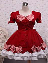 Steampunk®Cotton Red Bow Classic Lolita Dress