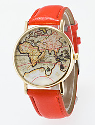 2016 New Arrival High Quality Pu Band Special Dial Map Printing Leisure Unisex Wristwatch Cool Watches Unique Watches Strap Watch