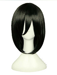 Wonderful Black Cosplay Wig Woman's Middle Long Straight Synthetic Hair Wigs Natural Animated Wigs Party Wigs