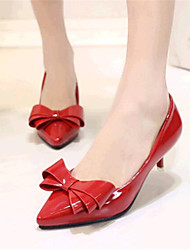 Women's Shoes Leatherette Low Heel Heels Heels Wedding / Party & Evening Black / Pink / Red / Beige