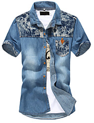 High Quality Men's Solid Letters printed Short Sleeve Teens Denim shirts Top,Cotton / Polyester Casual / Sport