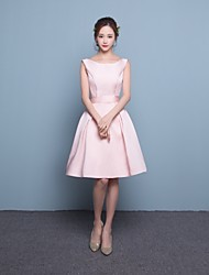 Short/Mini Satin Bridesmaid Dress-Blushing Pink Fit & Flare Scoop