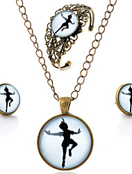Lureme® Time Gem Series Vintage The Girl Dancing Pendant Necklace Stud Earrings Hollow Flower Bangle Jewelry Sets