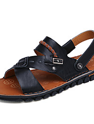 Men's Shoes Outdoor / Casual Nappa Leather Sandals Black / Brown / Orange