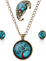 Lureme® Time Gem Series Vintage Blue Sky with Life Tree Pendant Necklace Stud Earrings Hollow Flower Bangle Jewelry Sets