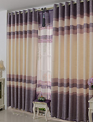 Two Panels Modern Stripe Living Room Polyester Panel Curtains Drapes