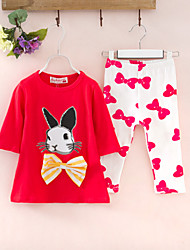Girl's Cotton Summer Cartoon Rabbit Pattern Three Quarter Sleeve Two-piece Suit