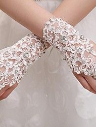 Wrist Length Fingerless Glove Tulle Bridal Gloves / Party/ Evening Gloves Spring / Summer / Fall / Winter White Rhinestone / lace