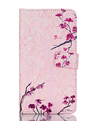 Pink Plum Blossom Painted Bracket PU Case For Samsung Galaxy Note 4/Note 5