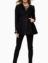 Manteau Aux femmes Manches Longues Simple / Street Chic Polyester