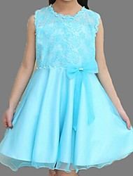 Girl's Blue / Pink / Yellow Dress,Lace / Bow Cotton Summer