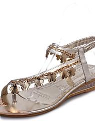 Women's Summer Wedges / Flip Flops / Round Toe Leatherette Outdoor / Casual Wedge Heel Crystal / Metallic toe Silver / Gold