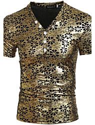 Herren T-shirt-Einfarbig Freizeit / Sport Polyester Kurz-Gold / Silber