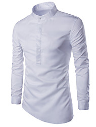 Men's Solid Casual / Sport Shirt,Cotton Long Sleeve Black / White