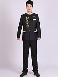 Suits Tailored Fit Mandarin Collar Single Breasted More-Button Polyester Stripes 2 Pieces Black / White