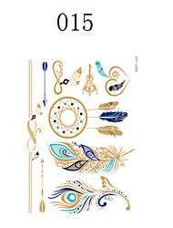 1PC Hot Stamping The Three-Dimensional Paper Carving Feather Ethnic Tribal Style Tattoo Stickers
