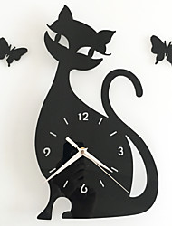 DIY Selling Novelty Products Acrylic Clock Kitten 34*32CM