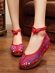 Women's Shoes Fabric Wedge Heel Wedges Boat Shoes Outdoor / Work & Duty / Casual Red