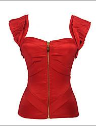 Shaperdiva Women's  Red Satin Front Zipper Corset&Bustiers with Straps