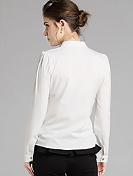 Women's Going out Sexy / Simple All Seasons Blouse,Solid Stand Long Sleeve Pink / White Rayon / Polyester Thin