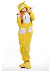 kigurumi Pyjamas New Cosplay® Renard Collant/Combinaison Fête / Célébration Pyjamas Animale Halloween Jaune Mosaïque Polaire Kigurumi Pour