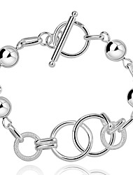 Lureme® Silver Plated Jewelry Geometry with Beads Toggle Clasps Bracelets for Women