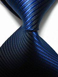 New Striped Royal Dark Blue JACQUARD WOVEN Men's Tie Necktie TIE2045