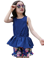Girl's Blue Clothing Set Cotton Summer