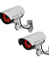KingNEO 2pcs White Wireless Fake Dummy Dome CCTV Security Camera LED light