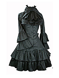 Long Sleeve Knee-length Black Satin Aristocrat Lolita Dress