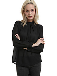 Women's Formal Simple Spring Blouse,Solid Round Neck Long Sleeve Pink / Black Polyester Medium